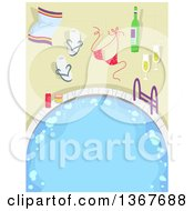 Clipart Of A Swimming Pool Or Hot Tub With Champagne A Bikini Top Sandals And Towel Royalty Free Vector Illustration by BNP Design Studio