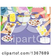 Clipart Of A Family Gathered Around A Table With Snacks Royalty Free Vector Illustration