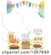 Clipart Of A Table With Easter Party Snacks And Drinks Under A Bunting Banner Royalty Free Vector Illustration by BNP Design Studio