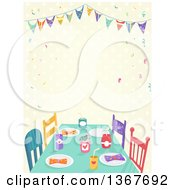 Clipart Of A Table Decorated For A Kids Party With Text Space Over Faded Dots Royalty Free Vector Illustration