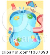 Clipart Of A Swimming Pool With Kids Party Accessories Royalty Free Vector Illustration by BNP Design Studio