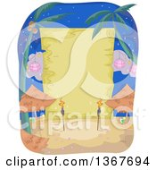 Clipart Of A Blank Wood Sign Behind Tiki Torches And Tables On A Beach At Night Royalty Free Vector Illustration by BNP Design Studio