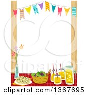 Clipart Of A Party Table And Bunting Banner Border Royalty Free Vector Illustration