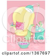 Clipart Of A Spa Birthday Party Scene With A Bowl Of Foot Soak Royalty Free Vector Illustration by BNP Design Studio