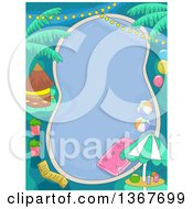 Clipart Of A Birthday Pool Party With Lights Balloons And A Tiki Hut Royalty Free Vector Illustration by BNP Design Studio
