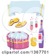 Clipart Of A Blank Banner Flip Flops Hot Tub Sponge And Wine Royalty Free Vector Illustration