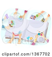 Clipart Of A Group Of Peoples Hands Creating A Photo Album Royalty Free Vector Illustration by BNP Design Studio