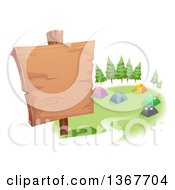 Clipart Of A Blank Wood Sign And Tents In A Campground Royalty Free Vector Illustration