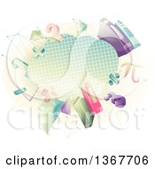 Clipart Of A Graph Paper Cloud With Math Numbers Shapes Symbols And Books Royalty Free Vector Illustration
