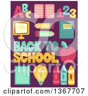 Poster, Art Print Of Back To School Patterned Items And Text On Purple