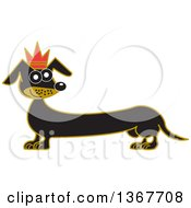 Retro Prince Dachshund Dog Wearing A Crown