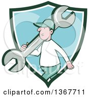 Clipart Of A Retro Cartoon White Male Mechanic Carrying A Giant Spanner Wrench Over His Shoulder And Walking Emerging From A Green White And Blue Shield Royalty Free Vector Illustration by patrimonio