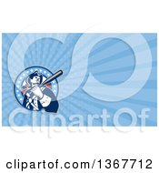 Poster, Art Print Of Retro Batting American Patriot Baseball Player And Blue Rays Background Or Business Card Design