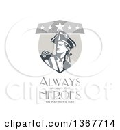 Clipart Of A Retro American Patriot Minuteman Revolutionary Soldier Crest With Always Honour The Heroes On Patriots Day Text On White Royalty Free Illustration