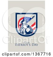 Clipart Of A Retro American Patriot Minuteman Revolutionary Soldier Wielding A Flag With Land Of The Free And Home Of The Brave And Have A Great Patriots Day Text On Taupe Royalty Free Illustration