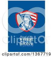 Clipart Of A Retro American Patriot Minuteman Revolutionary Soldier Wielding A Flag With Land Of The Free Home Of The Brave Have A Great Patriots Day Text On Blue Royalty Free Illustration