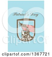 Clipart Of A Retro American Patriot Minuteman Revolutionary Soldier Wielding A Flag With Always Honour The Heroes On Patriots Day Text On Blue Royalty Free Illustration