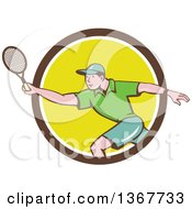 Clipart Of A Retro Cartoon White Man Playing Tennis Emerging From A Brown White And Yellow Circle Royalty Free Vector Illustration