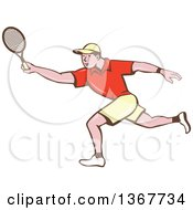 Clipart Of A Retro Cartoon White Man Playing Tennis Royalty Free Vector Illustration
