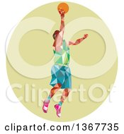 Clipart Of A Retro Low Poly White Male Basketball Player Doing A Layup In A Green Oval Royalty Free Vector Illustration by patrimonio