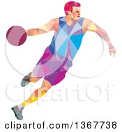 Clipart Of A Retro Low Poly White Male Basketball Player Dribbling Royalty Free Vector Illustration