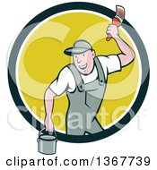 Clipart Of A Retro Cartoon White Male House Painter Holding A Bucket And A Brush Emerging From A Circle Royalty Free Vector Illustration