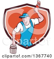 Clipart Of A Retro Cartoon White Male House Painter Holding A Bucket And A Brush Emerging From A Shield Royalty Free Vector Illustration