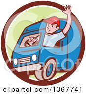Retro Cartoon Friendly White Male Delivery Truck Driver Waving In A Brown White And Green Circle