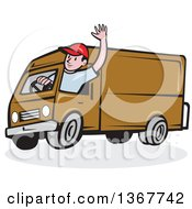 Clipart Of A Retro Cartoon Friendly White Male Delivery Truck Driver Waving Royalty Free Vector Illustration
