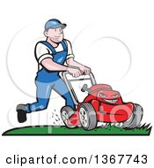 Clipart Of A Retro Cartoon White Man Pushing A Tough Red Lawn Mower Mascot Royalty Free Vector Illustration