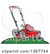 Cartoon Tough Red Lawn Mower Mascot On A Hill