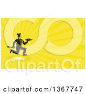 Clipart Of A Retro Woodcut Male Chef Running With A Plate And Spatula And Yellow Rays Background Or Business Card Design Royalty Free Illustration