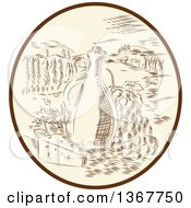 Retro Sketched Or Engraved Olive Jar Grapes And Cheese In A Tuscan Landscape Within An Oval