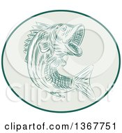 Clipart Of A Retro Sketched Or Engraved Largemouth Bass Fish Jumping In An Oval Royalty Free Vector Illustration by patrimonio