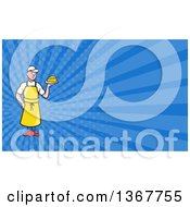 Clipart Of A Cartoon White Male Cheesemaker Holding A Wedge And Blue Rays Background Or Business Card Design Royalty Free Illustration by patrimonio