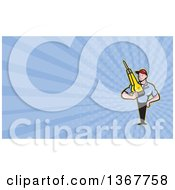 Clipart Of A Cartoon Construction Worker Man Holding A Jackhammer And Blue Rays Background Or Business Card Design Royalty Free Illustration by patrimonio