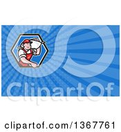 Clipart Of A Cartoon Flour Miller Worker Carrying A Sack Over His Shoulder And Blue Rays Background Or Business Card Design Royalty Free Illustration