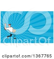 Clipart Of A Cartoon Delivery Man Gesturing Ok And Carrying A Parcel And Blue Rays Background Or Business Card Design Royalty Free Illustration