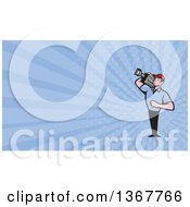 Clipart Of A Cartoon Movie Camera Man Filming And Blue Rays Background Or Business Card Design Royalty Free Illustration