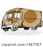 Clipart Of A Cartoon Brown Delivery Van Royalty Free Vector Illustration