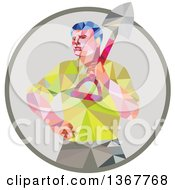 Poster, Art Print Of Retro Low Poly Styled Male Gardener Holding A Shovel In A Circle