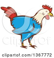 Clipart Of A Retro Cartoon Rooster Royalty Free Vector Illustration