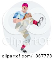 Clipart Of A Retro Low Poly Geometric Male Baseball Player Pitching In An Oval Royalty Free Vector Illustration