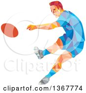 Clipart Of A Retro Low Poly Caucasian Male Rugby Player Kicking Royalty Free Vector Illustration