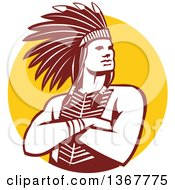 Clipart Of A Retro Brown And White Native American Indian Chief With Folded Arms Over A Yellow Circle Royalty Free Vector Illustration