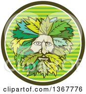 Retro Green Man Face With Leaf Hair In A Striped Circle
