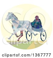 Clipart Of A Geometric Low Poly Man Horse Harness Racing Royalty Free Vector Illustration