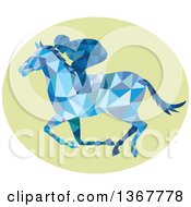 Clipart Of A Blue Geometric Low Poly Horse Racing Jockey In A Green Oval Royalty Free Vector Illustration