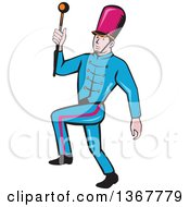 Clipart Of A Retro Cartoon Male Marching Band Leader Holding A Baton Royalty Free Vector Illustration