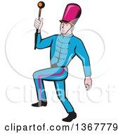 Retro Cartoon Male Marching Band Leader Holding A Baton